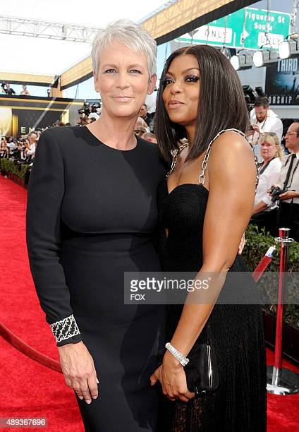 Actresses Jamie Lee Curtis and Taraji P Henson attend the 67th Annual Primetime Emmy Awards at Microsoft Theater on September 20 2015 in Los Angeles...