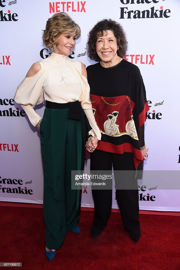 Actresses Jane Fonda (L) and Lily Tomlin arrive at the Netflix Original Series 'Grace & Frankie' Season 2 premiere at the Harmony Gold Theater on May 1, 2016 in Los Angeles, California.