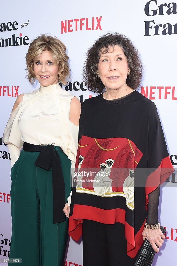 Actresses <a gi-track='captionPersonalityLinkClicked' href=/galleries/search?phrase=Jane+Fonda&family=editorial&specificpeople=202174 ng-click='$event.stopPropagation()'>Jane Fonda</a> (L) and <a gi-track='captionPersonalityLinkClicked' href=/galleries/search?phrase=Lily+Tomlin&family=editorial&specificpeople=208236 ng-click='$event.stopPropagation()'>Lily Tomlin</a> arrive at the Netflix Original Series 'Grace & Frankie' Season 2 premiere at Harmony Gold on May 1, 2016 in Los Angeles, California.