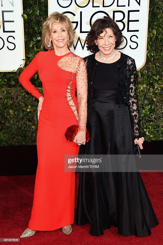 Actresses Jane Fonda and Lily Tomlin attend the 72nd Annual Golden Globe Awards at The Beverly Hilton Hotel on January 11 2015 in Beverly Hills...