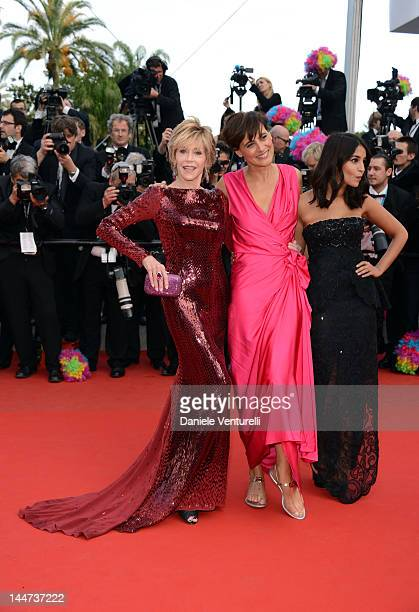 Actresses Jane Fonda Ines de La Fressange and Leila Bekhti attend the 'Madagascar 3 Europe's Most Wanted' Premiere during the 65th Annual Cannes Film...