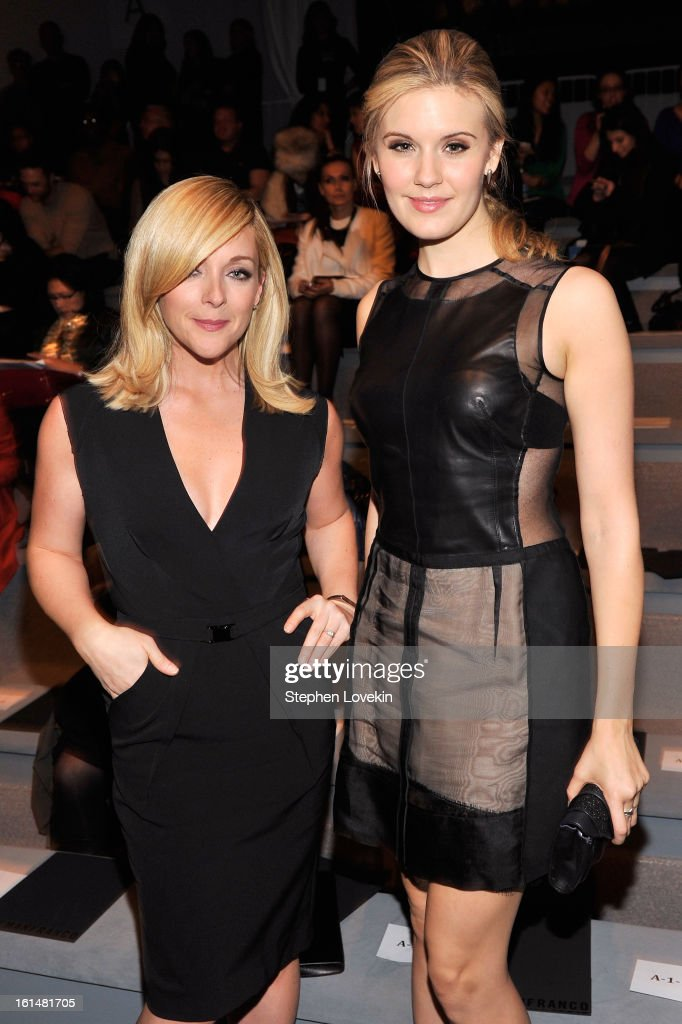 Actresses Jane Krakowski (L) and Maggie Grace attend the Kaufmanfranco Fall 2013 fashion show during Mercedes-Benz Fashion Week at The Stage at Lincoln Center on February 11, 2013 in New York City.
