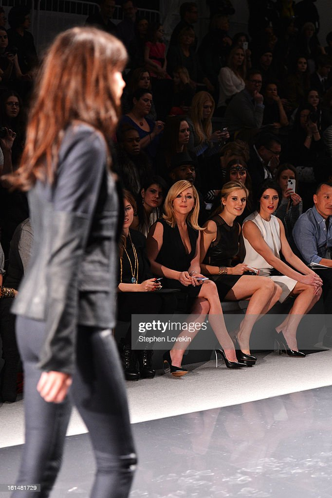 Actresses Jane Krakowski, Maggie Grace, Ashley Green, and creative director Joe Zee attend the Kaufmanfranco Fall 2013 fashion show during Mercedes-Benz Fashion Week at The Stage at Lincoln Center on February 11, 2013 in New York City.