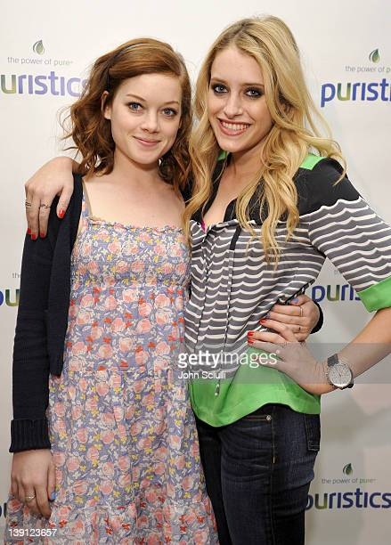 Actresses Jane Levy and Carly Chaikin attend a launch party for new skincare line Puristics at a private residence on February 16 2012 in Los Angeles...