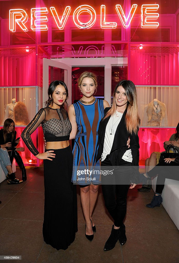 Actresses Janel Parrish Ashley Benson and Shenae GrimesBeech attends the REVOLVE PopUp Launch Party at The Grove on November 4 2014 in Los Angeles...
