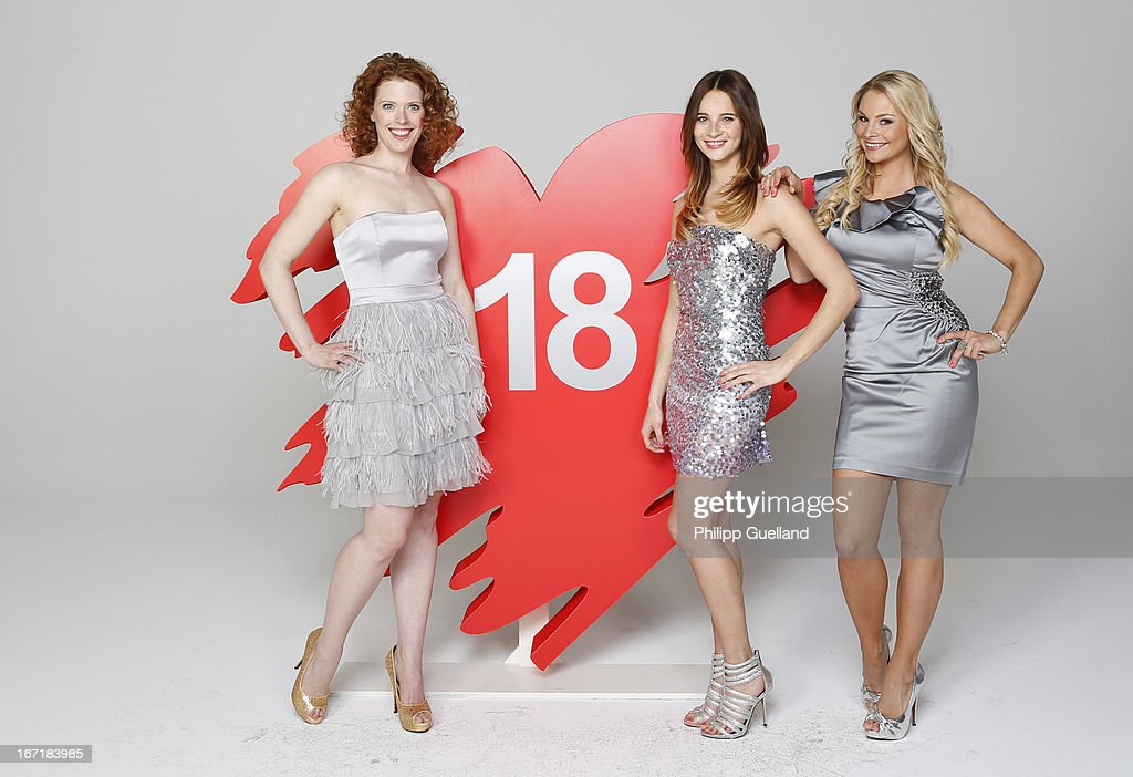 Actresses Janina Isabell Batoly, Nicole Mieth and Jana Julia Kilka attend the 18th anniversary celebration of the TV-show 'Verbotene Liebe' on April 22, 2013 in Hamburg, Germany.