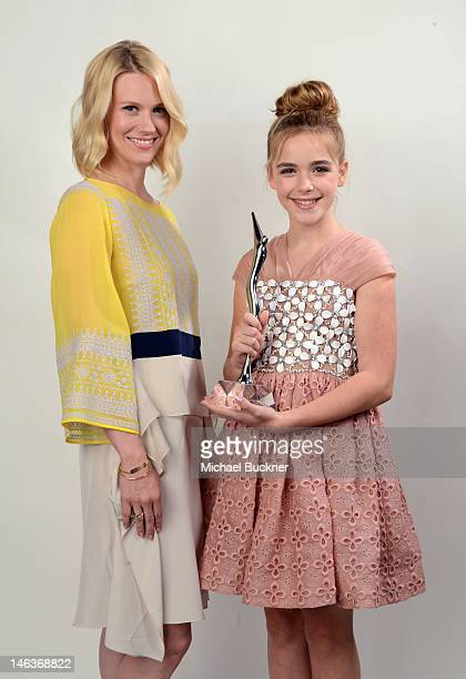 Actresses January Jones and Kiernan Shipka winner of the Scene Stealer Award pose during the 14th Annual Young Hollywood Awards presented by Bing at...