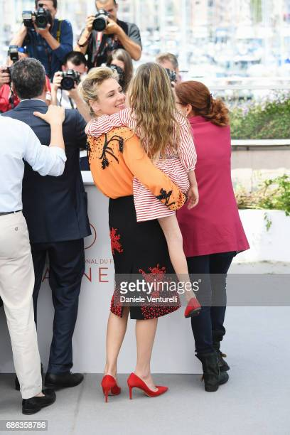 Actresses Jasmine Trinca and Nicole Centanni attend the 'Fortunata' photocall during the 70th annual Cannes Film Festival at Palais des Festivals on...