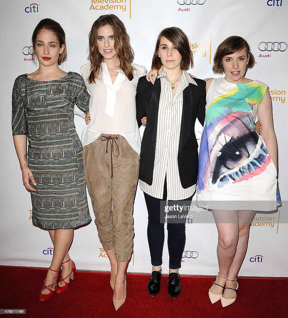 Actresses <a gi-track='captionPersonalityLinkClicked' href=/galleries/search?phrase=Jemima+Kirke&family=editorial&specificpeople=7327464 ng-click='$event.stopPropagation()'>Jemima Kirke</a>, Allison Williams, <a gi-track='captionPersonalityLinkClicked' href=/galleries/search?phrase=Zosia+Mamet&family=editorial&specificpeople=7439328 ng-click='$event.stopPropagation()'>Zosia Mamet</a> and <a gi-track='captionPersonalityLinkClicked' href=/galleries/search?phrase=Lena+Dunham&family=editorial&specificpeople=5836535 ng-click='$event.stopPropagation()'>Lena Dunham</a> attend an evening with 'Girls' at Leonard H. Goldenson Theatre on March 13, 2014 in North Hollywood, California.