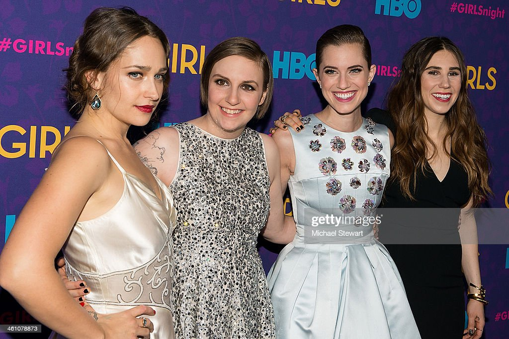 Actresses Jemima Kirke Lena Dunham Allison Williams and Zosia Mamet attend the 'Girls' season three premiere at Jazz at Lincoln Center on January 6...