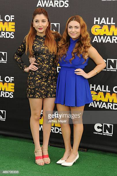 Actresses Jenessa Rose and Julianna Rose arrive at the 4th Annual Cartoon Network Hall Of Game Awards at Barker Hangar on February 15 2014 in Santa...