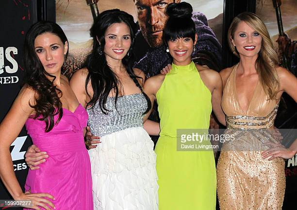 Actresses Jenna Lind Katrina Law Cynthia AddaiRobinson and Ellen Hollman attend the premiere of Starz's 'Spartacus War of the Damned' at Regal...