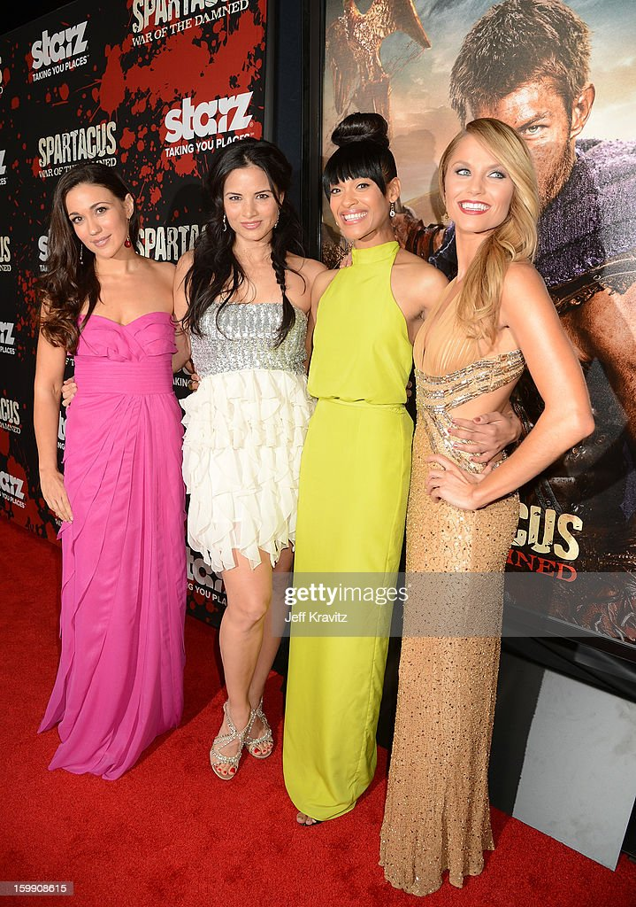 Actresses Jenna Lind, <a gi-track='captionPersonalityLinkClicked' href=/galleries/search?phrase=Katrina+Law&family=editorial&specificpeople=4529605 ng-click='$event.stopPropagation()'>Katrina Law</a>, Cynthia Addai-Robinson, and <a gi-track='captionPersonalityLinkClicked' href=/galleries/search?phrase=Ellen+Hollman&family=editorial&specificpeople=5295263 ng-click='$event.stopPropagation()'>Ellen Hollman</a> attend the 'Spartacus: War Of The Damned' premiere at Regal Cinemas L.A. LIVE Stadium 14 on January 22, 2013 in Los Angeles, California.