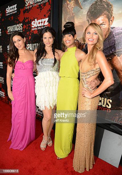 Actresses Jenna Lind Katrina Law Cynthia AddaiRobinson and Ellen Hollman attend the 'Spartacus War Of The Damned' premiere at Regal Cinemas LA LIVE...
