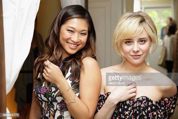 Actresses Jenna Ushkowitz and Allessandra Torresani attend Kari Feinstein's Music Festival Style Lounge at Sunset Marquis Hotel Villas on April 7...