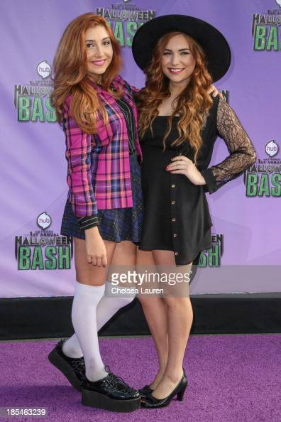 Actresses Jennessa Rose and Julianna Rose arrive at Hub Network's 1st annual Halloween bash at Barker Hangar on October 20 2013 in Santa Monica...