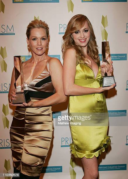 Actresses Jennie Garth and Andrea Bowen win an award for Performance in a TV Movie or Miniseries 'Girl Positive' at The 12th Annual PRISM Awards on...