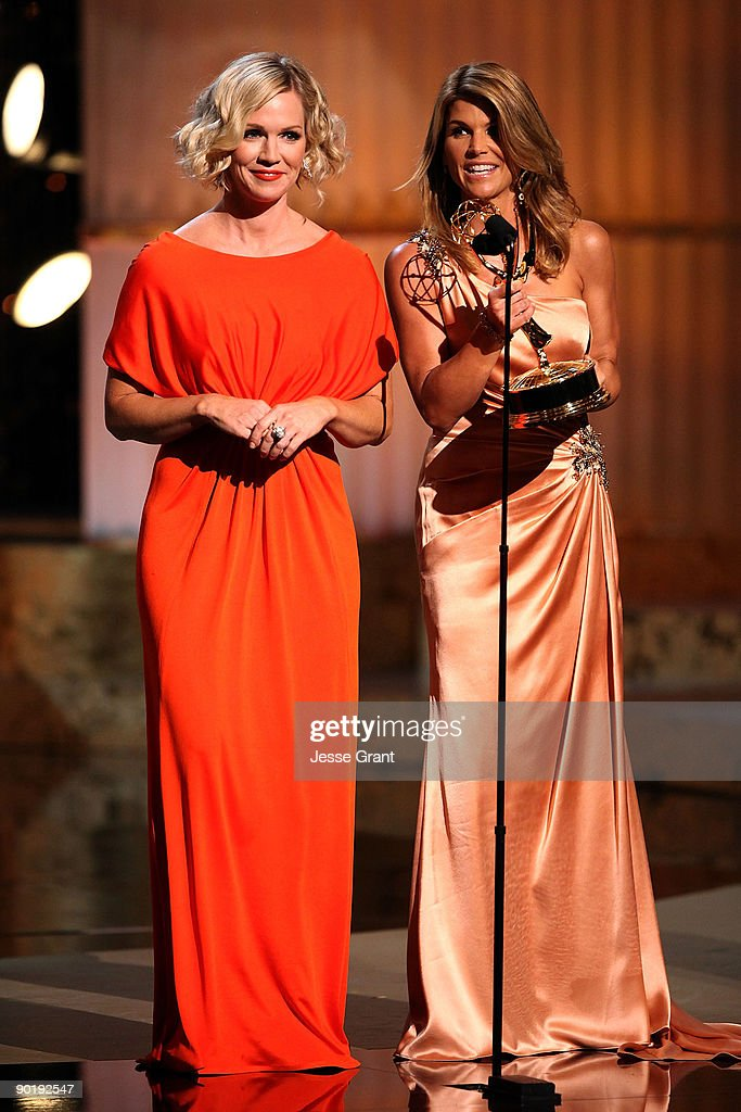 Actresses Jennie Garth and Lori Loughlin onstage at the 36th Annual Daytime Emmy Awards at The Orpheum Theatre on August 30, 2009 in Los Angeles, California.