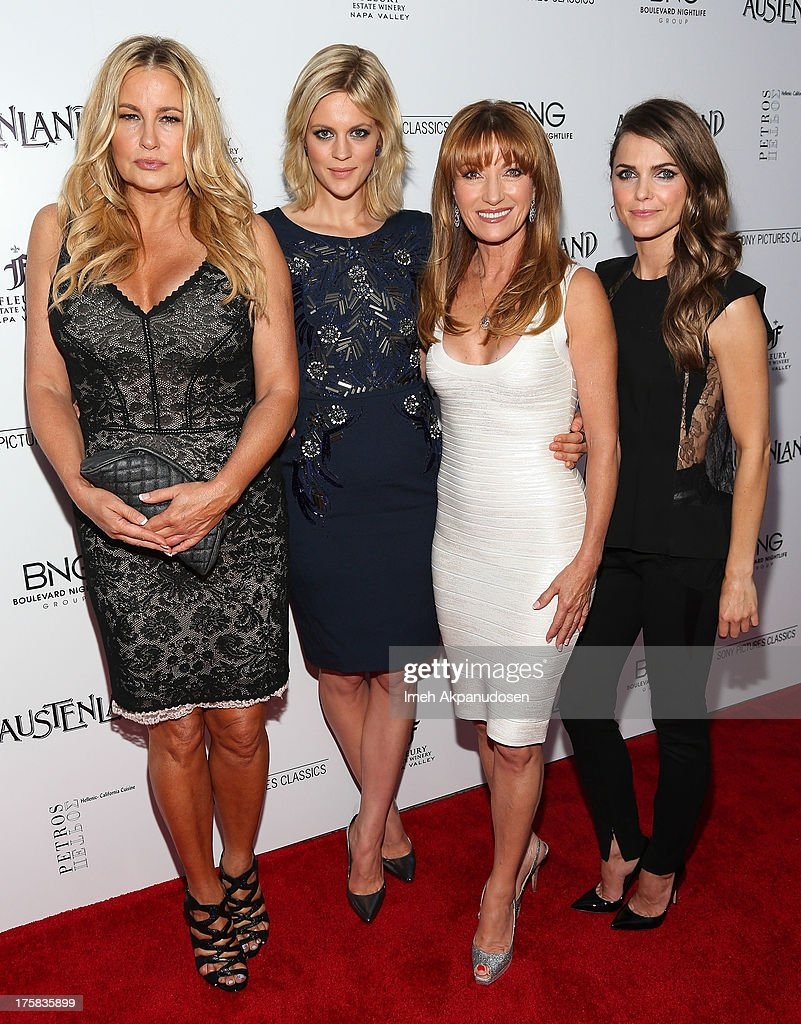 Actresses Jennifer Coolidge, Georgia King, Jane Seymour, and Keri Russell attend the premiere of Sony Pictures Classics' 'Austenland' at ArcLight Hollywood on August 8, 2013 in Hollywood, California.