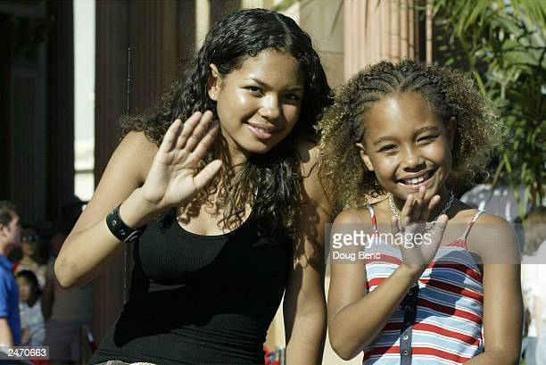 Actresses Jennifer Freeman and Parker McKenna Posey of 'My Wife and Kids' during the ABC Primetime Preview Weekend on September 7 2003 at Disney's...