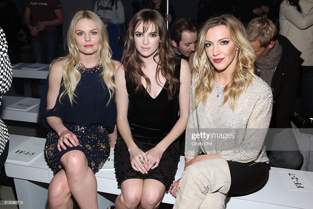 Actresses, Jennifer Morrison, Danielle Panabaker and Katie Cassidy attends the Jenny Packham Fall 2016 fashion show during New York Fashion Week: The Shows at The Gallery, Skylight at Clarkson Sq on February 14, 2016 in New York City.