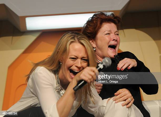 Actresses Jeri Ryan and Kate Mulgrew at the 14th annual official Star Trek convention at the Rio Hotel Casino on August 8 2015 in Las Vegas Nevada