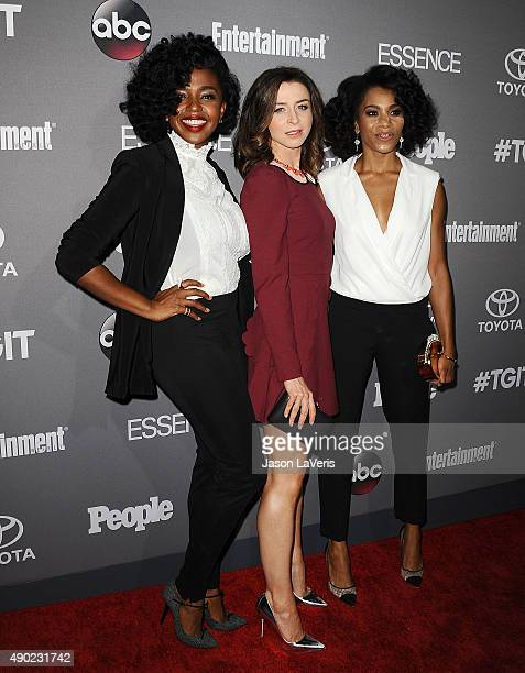Actresses Jerrika Hinton Caterina Scorsone and Kelly McCreary attend ABC's TGIT premiere event on September 26 2015 in West Hollywood California