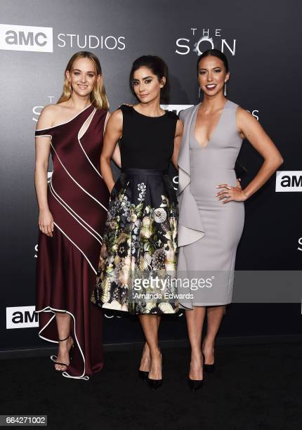 Actresses Jess Weixler Paola Nunez and Elizabeth Frances arrive at the premiere of AMC's 'The Son' at ArcLight Hollywood on April 3 2017 in Hollywood...