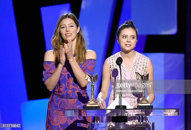 Actresses Jessica Biel and Bel Powley speak onstage during the 2016 Film Independent Spirit Awards on February 27 2016 in Santa Monica California