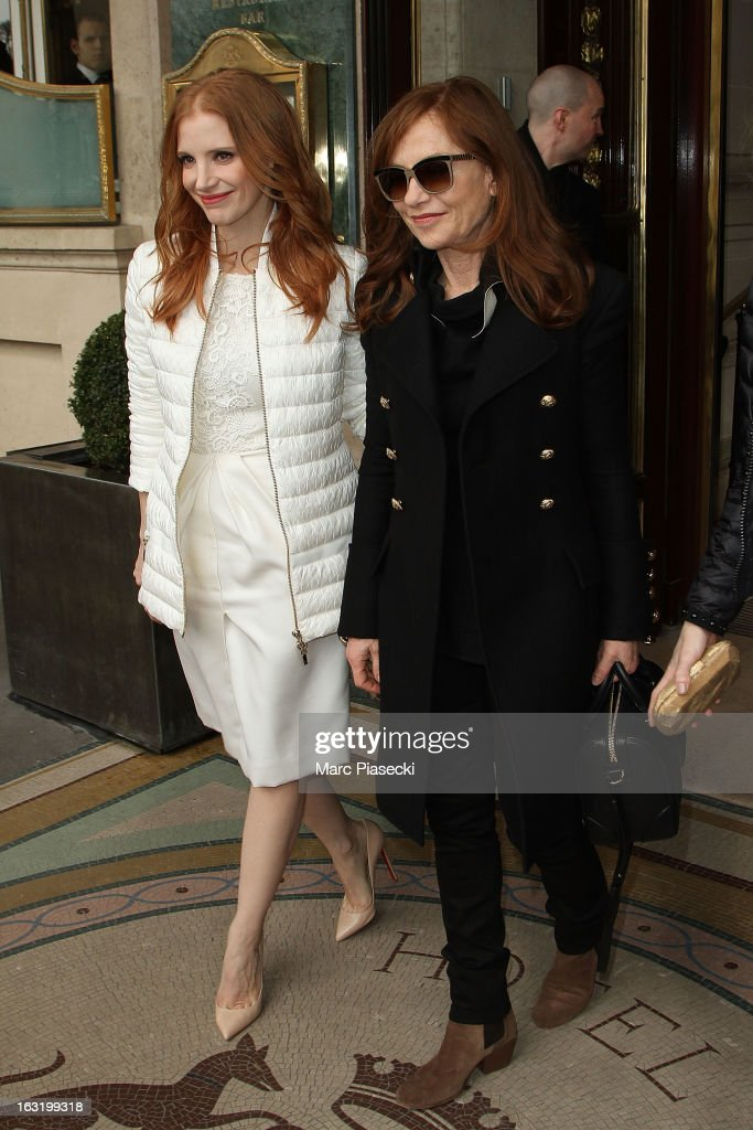 Actresses <a gi-track='captionPersonalityLinkClicked' href=/galleries/search?phrase=Jessica+Chastain&family=editorial&specificpeople=653192 ng-click='$event.stopPropagation()'>Jessica Chastain</a> and <a gi-track='captionPersonalityLinkClicked' href=/galleries/search?phrase=Isabelle+Huppert&family=editorial&specificpeople=662796 ng-click='$event.stopPropagation()'>Isabelle Huppert</a> are seen leaving the 'Meurice' hotel on March 6, 2013 in Paris, France.