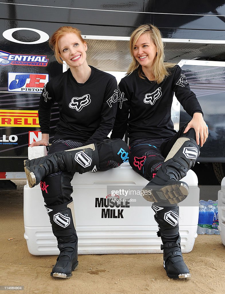 Actresses Jessica Chastain and Jess Weixler attend Oakley's Learn To Ride Motocross event at Stawest MX Track on May 23, 2011 in Lake Perris, California.
