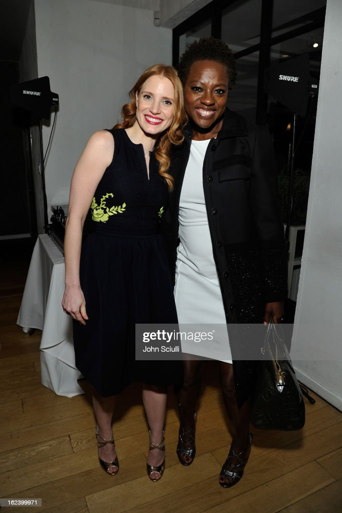 Actresses <a gi-track='captionPersonalityLinkClicked' href=/galleries/search?phrase=Jessica+Chastain&family=editorial&specificpeople=653192 ng-click='$event.stopPropagation()'>Jessica Chastain</a> and <a gi-track='captionPersonalityLinkClicked' href=/galleries/search?phrase=Viola+Davis&family=editorial&specificpeople=653789 ng-click='$event.stopPropagation()'>Viola Davis</a> attend the Women In Film's 6th Annual Pre-Oscar Party hosted by Perrier Jouet, MAC Cosmetics and MaxMara at Fig & Olive on February 22, 2013 in Los Angeles, California.