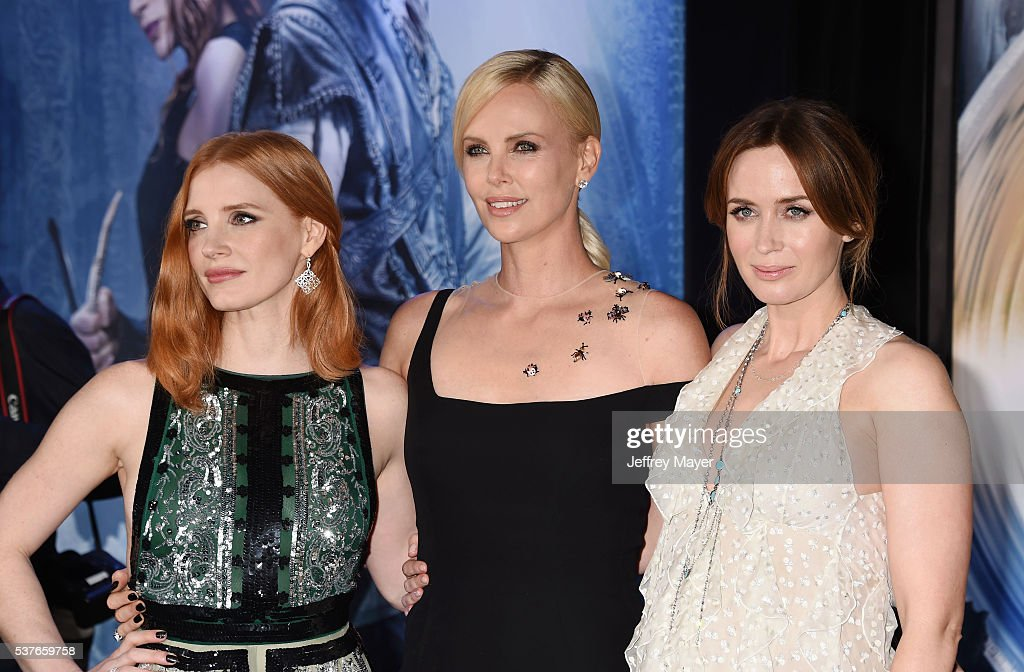 Actresses Jessica Chastain, Charlize Theron and Emily Blunt attend the premiere of Universal Pictures' 'The Huntsman: Winter's War' at the Regency Village Theatre on April 11, 2016 in Westwood, California.