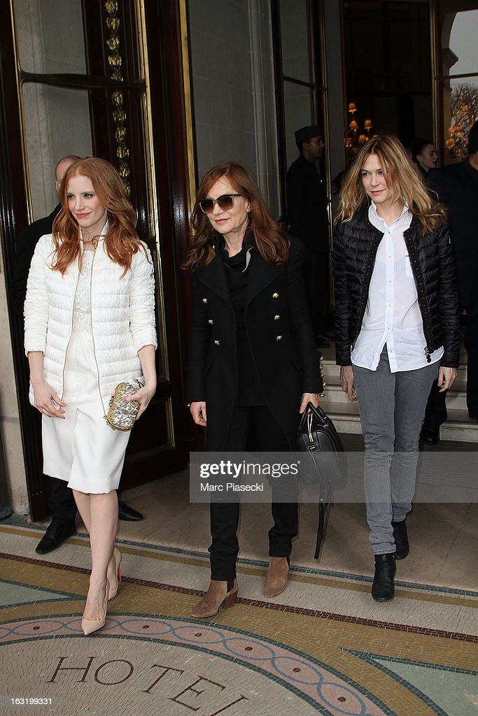 Actresses <a gi-track='captionPersonalityLinkClicked' href=/galleries/search?phrase=Jessica+Chastain&family=editorial&specificpeople=653192 ng-click='$event.stopPropagation()'>Jessica Chastain</a>, <a gi-track='captionPersonalityLinkClicked' href=/galleries/search?phrase=Isabelle+Huppert&family=editorial&specificpeople=662796 ng-click='$event.stopPropagation()'>Isabelle Huppert</a> and Marie-Jose Croze are seen leaving the 'Meurice' hotel on March 6, 2013 in Paris, France.