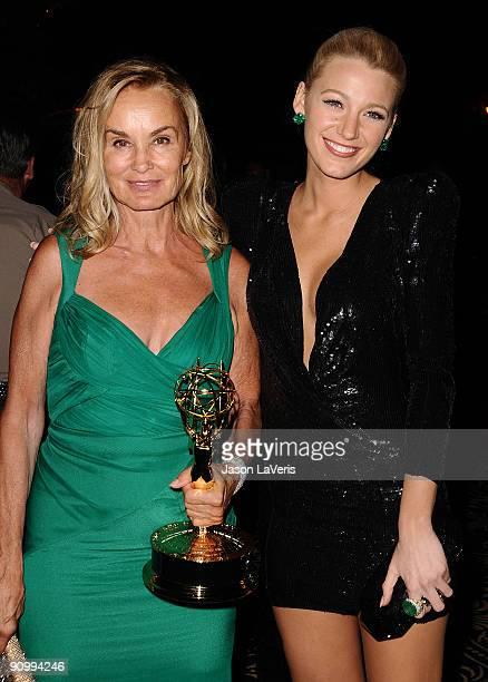 Actresses Jessica Lange and Blake Lively attend HBO's post Emmy Awards reception at Pacific Design Center on September 20 2009 in West Hollywood...