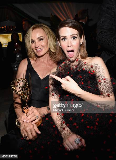 Actresses Jessica Lange and Sarah Paulson attend the FOX 20th Century FOX Television FX Networks and National Geographic Channel's 2014 Emmy Award...