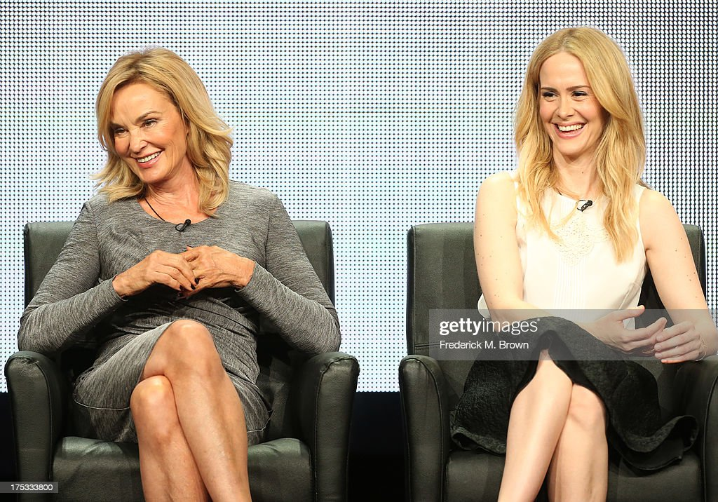 Actresses <a gi-track='captionPersonalityLinkClicked' href=/galleries/search?phrase=Jessica+Lange&family=editorial&specificpeople=203310 ng-click='$event.stopPropagation()'>Jessica Lange</a> and <a gi-track='captionPersonalityLinkClicked' href=/galleries/search?phrase=Sarah+Paulson&family=editorial&specificpeople=220657 ng-click='$event.stopPropagation()'>Sarah Paulson</a> speak onstage during the 'American Horror Story: Coven' panel discussion at the FX portion of the 2013 Summer Television Critics Association tour - Day 10 at The Beverly Hilton Hotel on August 2, 2013 in Beverly Hills, California.