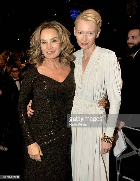 Actresses Jessica Lange and Tilda Swinton attend the 18th Annual Screen Actors Guild Awards at The Shrine Auditorium on January 29 2012 in Los...