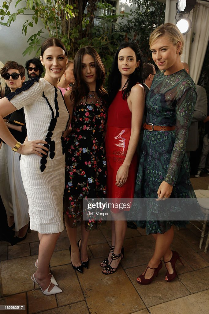 Actresses Jessica Pare, Emmy Rossum, and Krysten Ritter, and professional tennis player Maria Sharapova attend the 2013 CFDA/Vogue Fashion Fund Event Presented by thecorner.com and Supported by Audi, Living Proof, and MAC Cosmetics at the Chateau Marmont on October 23, 2013 in Los Angeles, California.