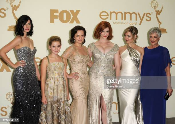 Actresses Jessica Pare Kiernan Shipka Elisabeth Moss Christina Hendricks Cara Buono and Randee Heller pose in press room during the 63rd Primetime...