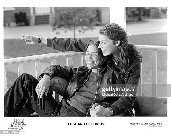 Actresses Jessica Pare Piper Perabo on set of the movie 'Lost and Delirious' circa 2001