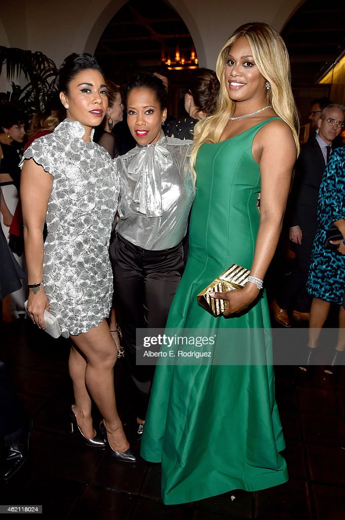 Actresses Jessica Pimentel Regina King and Laverne Cox attend Entertainment Weekly's celebration honoring the 2015 SAG awards nominees at Chateau...