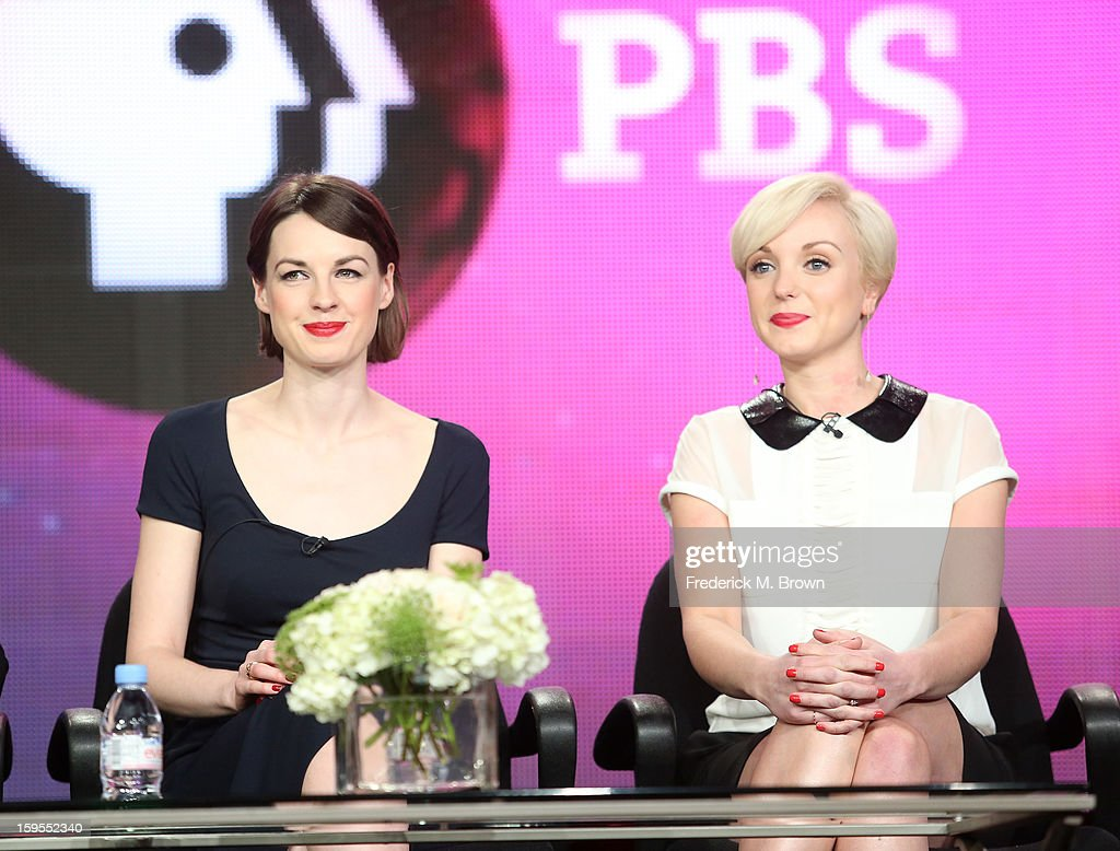 Actresses Jessica Raine (L) and Helen George speak onstage during the 'Call The Midwife' panel discussion during the PBS Portion- Day 2 of the 2013 Winter Television Critics Association Press Tour at Langham Hotel on January 15, 2013 in Pasadena, California.