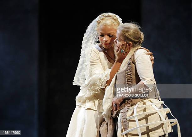 Actresses Jina Djemba performing Madame de Tourvel and Sophie Barjac as Madame de Rosemonde rehearse during the photocall of US John Malkovich's...