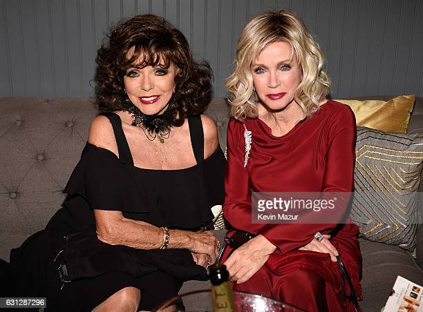 Actresses Joan Collins and Donna Mills attend The Weinstein Company and Netflix Golden Globe Party presented with FIJI Water Grey Goose Vodka Lindt...