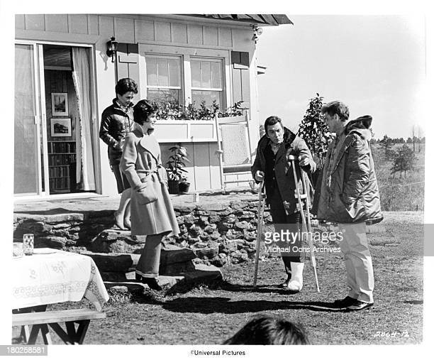 Actresses Joan Lorring Susan Clark and Actors Cameron Mitchell and Burt Lancaster on the set of the Universal Pictures movie ' The Midnight Man' in...