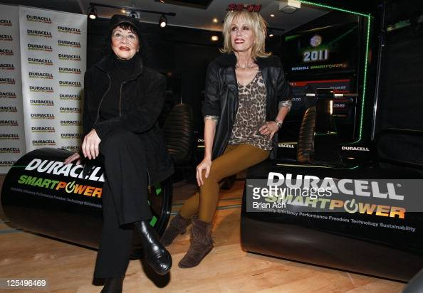 Actresses Joanna Lumley and Chita Rivera attend the launch of Duracell Mobile Smart Power Lab at 46th and 8th Avenue on November 30 2010 in New York...