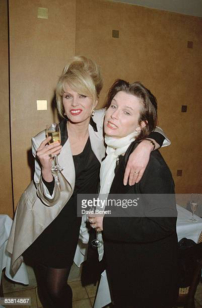 Actresses Joanna Lumley and Jennifer Saunders at the 'Absolutely Fabulous' movie deal launch party in London 30th March 1995