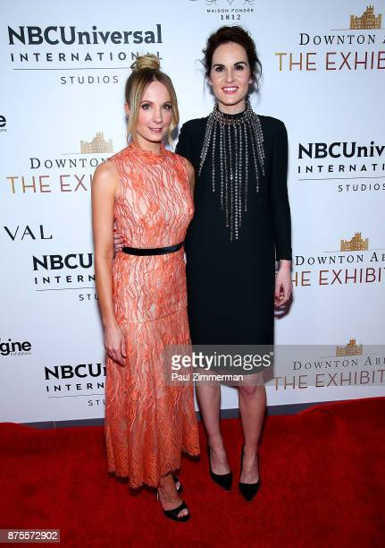 Actresses Joanne Froggatt and Michelle Dockery attend 'Downton Abbey The Exhibition' Gala Reception on November 17 2017 in New York City