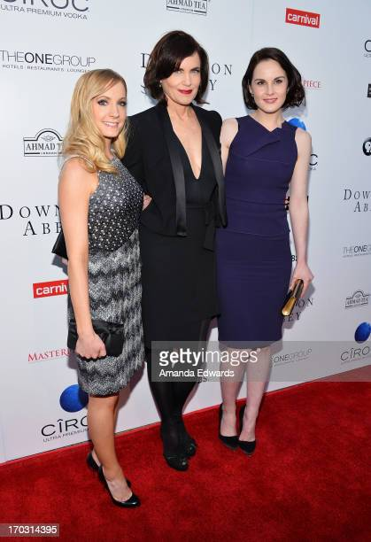 Actresses Joanne Froggatt Elizabeth McGovern and Michelle Dockery arrive at the 'Downton Abbey' talent panel QA at the Leonard H Goldenson Theatre on...